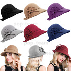1920s Cloche Bucket Church Hat Vintage Gatsby Winter Wool Bowler Hat With Bow