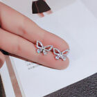 Cute White Sapphire Butterfly Stud Earrings 925 Silver Women's Wedding Jewelry