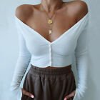 Fashion Sexy Women Solid Button Blouse V-Neck Long Sleeve Short Top Shirt Blouse