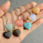 Natural Quartz Stone Gemstone Heart Rock Healing Point Chakra Pendant Necklace--