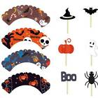 Halloween Cupcake Toppers Cake Rice Paper Pumpkin Witch Scary Ghost Spooky Decor