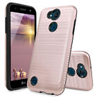 For LG X Charge/Fiesta 2 LTE/Power 2 3/ Brushed Rubber Phone Case+Tempered Glass