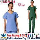 Maevn Scrubs Set RED PANDA Women's Mock Wrap Top  Full Elastic Pant 1726/9726