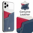 Adhesive Genuine Leather Card Phone Pocket Holder Stick On Credit Card Wallet