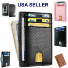 Slim Minimalist Front Pocket RFID Blocking Carbon Fiber Wallets for Mens Wallet