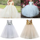 US Stock Baby Kids Girl Sequin Tulle Tutu Dress Wedding Party Pageant Prom Dress