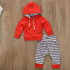 Newborn Infant Baby Boy Girl Clothes Stripe Hooded T-shirt Tops+Pants Outfit Set
