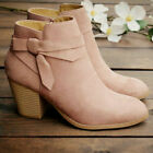 Ladies Chelsea Ankle Boots Low Block Mid Heels Women Winter Zip UP Shoes Size