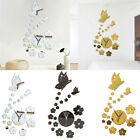 Art DIY 3D Butterfly Flower Mirror Clock Wall Stickers Decals Home Modern Decor
