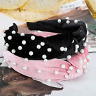 Women Girl's Tie Hairband Headband Pearl Hair Band Hoop Accessories Headwear