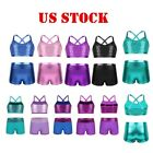 US Kids Girls Two Piece Tankini Outfit Ballet Dance Crop Top Bottoms Set Costume