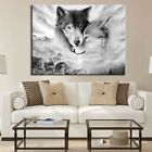 Wolf Canvas Picture Home Hanging Wall Black&White Picture Art Painting Decor UK