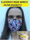 Kyпить USA MADE!!! face mask with nose wire !!!  3 LAYERS!!! with filter pocket !!!! на еВаy.соm