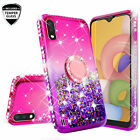 For Samsung Galaxy A01 Liquid Glitter Diamond Ring Stand Phone Case Cover