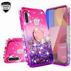 For Samsung Galaxy A21 Liquid Glitter Diamond Ring Stand Phone Case Cover