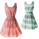 Sundress Women Summer Beach Chiffon Mini Dress Sleeveless OL Floral Pleated Tank