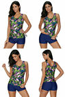Crazycatz Tankini Set XL 14 16 Padded Top Short Blue Pink Green Tropical Floral