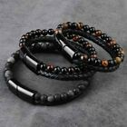 Men Jewelry Natural Stone Leather Wrap Magnetic Clasp Tiger Eye Bead Bracelet Us