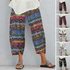ZANZEA Women Summer Printed Pants Capris Loose Baggy Wide Leg Floral Trousers
