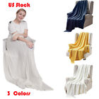 Comfty 100% Cotton Knit Throw Blanket Cozy Crochet Sofa Blankets for Couch Bed  image