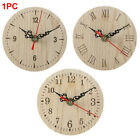Office Home Small Vintage Style Numerals Quartz Wooden Round Quiet Wall Clock