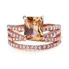 Women Band Ring Stainless Steel Crystal Rhinestone Engagement Wedding Fingerring