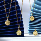 "Gold Plated Initial Letter Pendant Necklace 18+2"" Stainless Steel Figaro Chain"