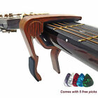 Quick Clip Release Acoustic Classic Electric Guitar Capo Wooden Alloy Clamp Pick