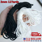 "11 Yards Elastic Band Cord Ear Hanging Sewing For Diy 3mm 1/8"" Round Black/white"