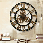 19 Inch Antique Roman Numerals Silent Wall Clock Rustic Wheel Gear Wooden Decor