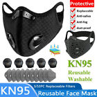 Reusable Face Mask Double Breathing Valve With Activated Carbon Filter Washable