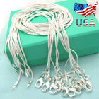 """Xmas Wholesale 925 Sterling Silver Lots 10pcs 1mm Snake Chains 16-30"""" Necklace Q"""