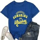MNLYBABY Sunshine and Whiskey Short Sleeve T-Shirt Women Beach Funny Letters Pri
