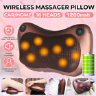 Cordless Electric Massage Pillow Lumbar Body Neck Back Shiatsu Kneading U