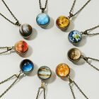 Solar System Necklace Pendant Planet Glow In Dark Galaxy Double Sided Glass Gift