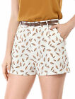 Allegra K Women High Waist Zip Fly Feather Pattern Shorts w Belt