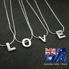 Letter Alphabet Pendant Charm Necklace Stainless Steel Silver Chain Jewellery