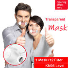 Clear Visible Face Mask Reusable Respirator Purify Air Valves &12x Filter Pads