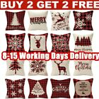 "18"" Christmas Xmas Linen Cushion Cover Pillow Case Home Decor Reindeer Snow Tree"