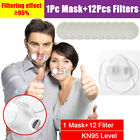 Reusable Clear Visible Face Mask Respirator Purify Air Valves + 12x Filter Pads