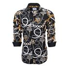 Suslo Couture Mens Paisley Floral Slim-Fit Long Sleeve Button Down Shirt