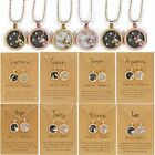 Fashion 12 Constellation Sign Star Day Night Charms Necklace Pendant Gold Choker