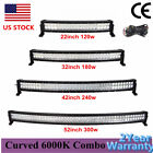 22 32 42 52 inch Curved LED Light Bar Combo Offroad Truck 4x4 ATV + Wire Harness