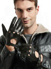 man new unlined top Italy leather four holes driving gloves black
