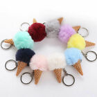 Women Furry Plush Ice Cream Car Key Chain Keyring Keychain Bag Pendant Decor