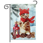 Christmas Decorations Garden Flag Winter Lantern Red Scarf Cat Double Sided