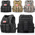 Huntvp Military Tactical Vest Molle Combat Assault Plate Carrier W/ Without Flag