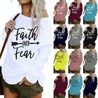Plus Size Women Letter Print Shirts Long Sleeve Casual Loose T-Shirt Blouse Tops
