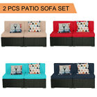 2 Pcs Patio Outdoor Wicker Rattan Furniture Garden Sofa Set Cushions Couch