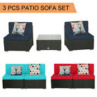 3 Pcs Patio Outdoor Wicker Rattan Furniture Garden Sofa Couch Set Table Cushion